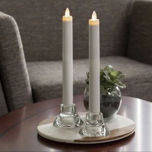 Pier 1 White Flameless LED Wax-Dipped Set of 2 Taper Candles